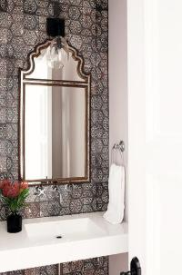 Powder Room with Moroccan Lantern - Cottage - Bathroom