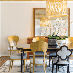 Metal Dining Chairs Johannesburg Wingback Chair And Ottoman Octagon Tray Room Ceiling Design Ideas Accented With A Worlds Away Leona Pendant Illuminating Black Gold French Oval Table Lined Mix Of