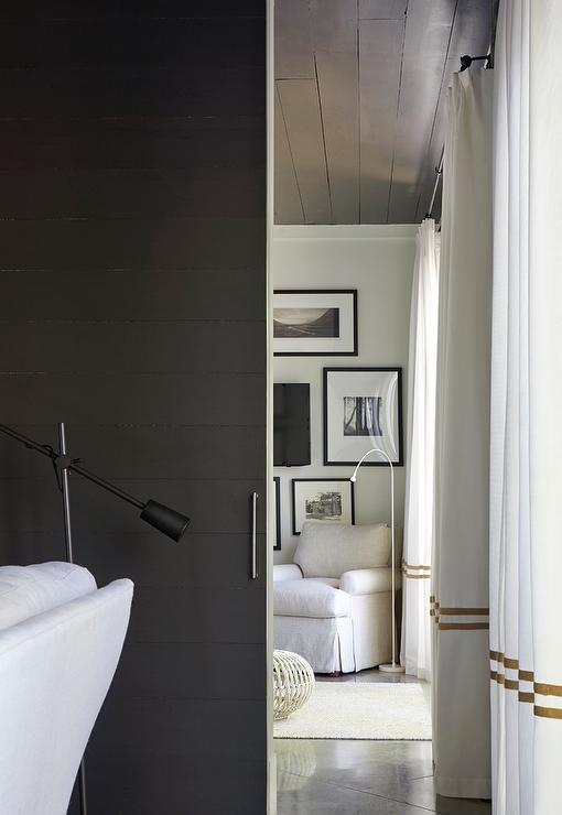 Black Shiplap Sliding Door  Transitional  Living Room