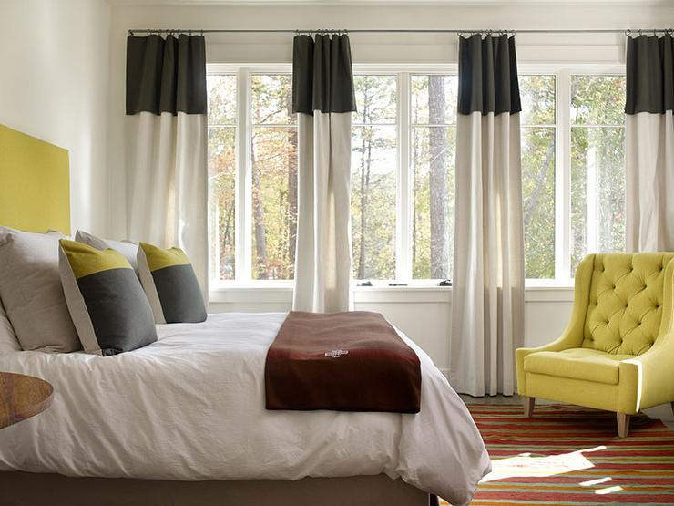 Black Banded Curtains  Contemporary  Bedroom