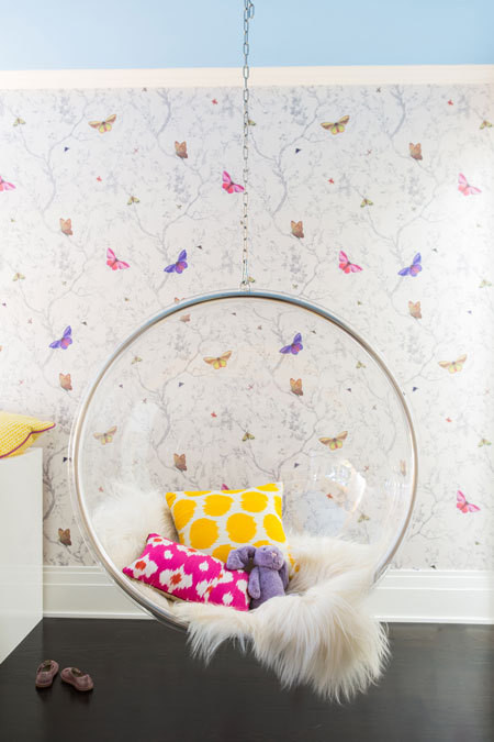 Girls Bedroom with Clear Hanging Bubble Chair  Contemporary  Girls Room