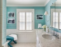 Cottage Bathroom with Turquoise Grasscloth and Wainscoting ...