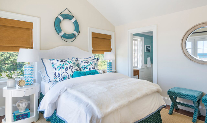 White and Turquoise Cottage Bedroom