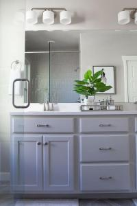 Grey Painted Bathroom Cabinets with Satin Nickel Pulls ...