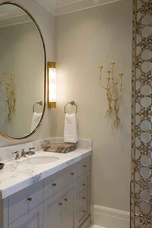 Gray Vanity with Honed Calacatta Gold Marble Countertop  Contemporary  Bathroom  Benjamin