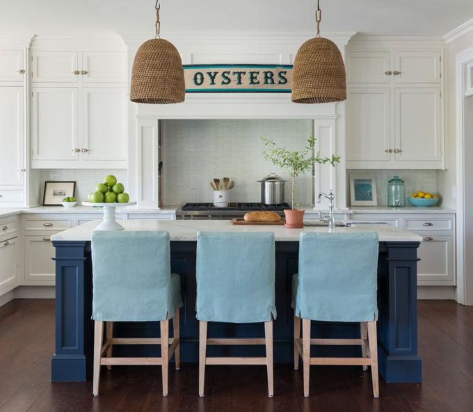 Turquoise Slipcovered Island Stools  Cottage  Kitchen