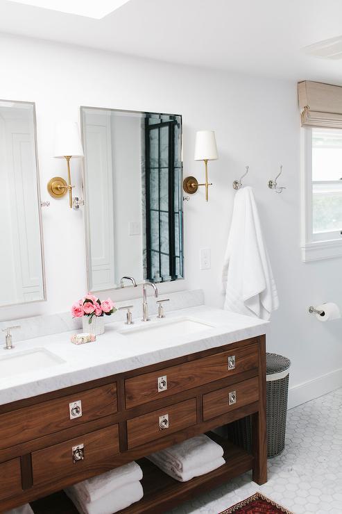 Walnut Double Vanity  Transitional  bathroom  Lugbill