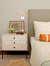 Grey Bedroom with Orange Accents - Transitional - Bedroom
