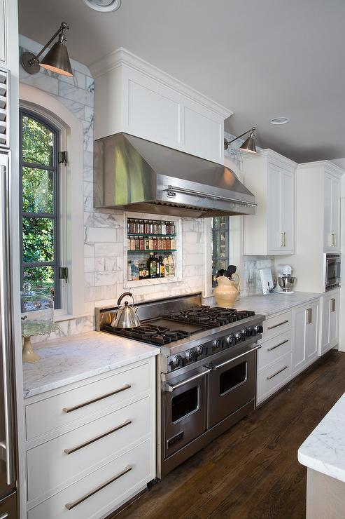 Stainless Steel Range Hood with Pot Rail  Transitional