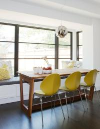 Modern Wood Dining Table with Yellow Dining Chairs ...