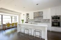 Kitchen Island with Clear Stools - Modern - Kitchen