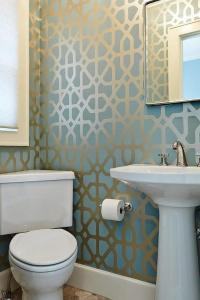 Powder Room with Blue and Gold Trellis Wallpaper ...