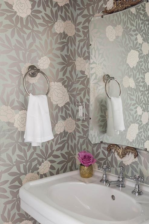 Pink and Gray Powder Room Wallpaper  Transitional  Bathroom