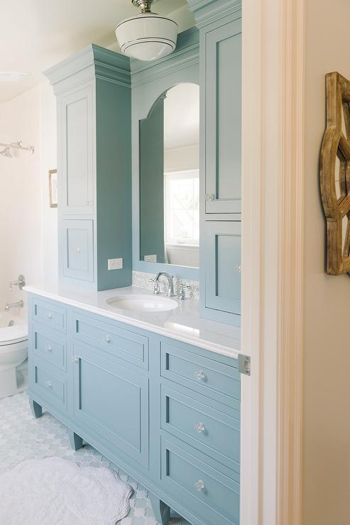Cornflower Blue Vanity Cabinets  Cottage  Bathroom