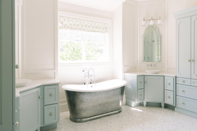 Master Bathroom with Corner Washstands  Transitional