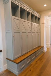 Gray Mudroom Lockers with Bench - Transitional - Laundry Room