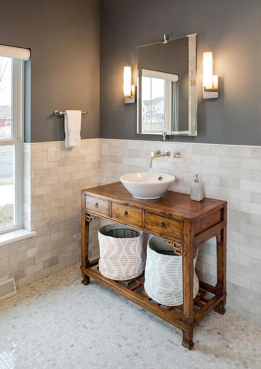 Charcoal Gray Bathroom Paint Colors Transitional
