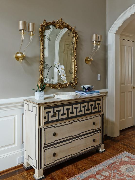 Greek Key Foyer Chest with Gilt Mirror  Transitional