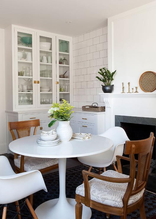 Eat In Kitchen with Fireplace  Vintage  Dining Room