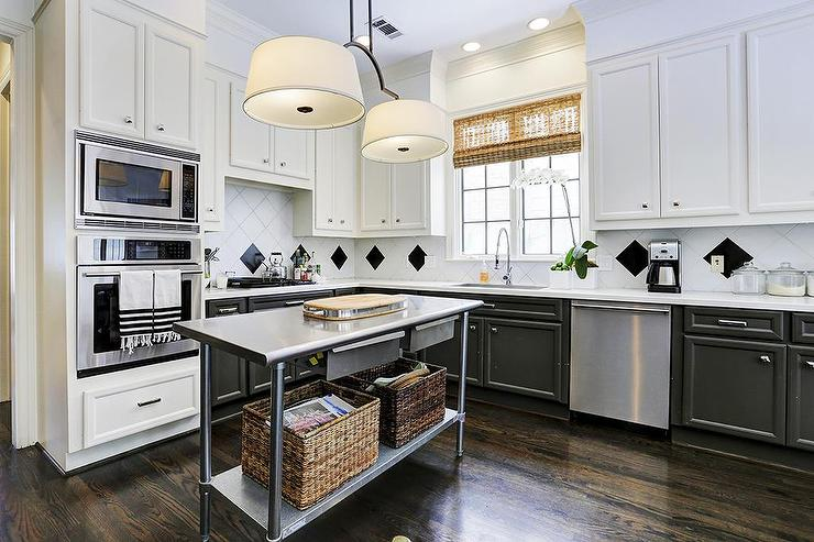 Freestanding Stainless Steel Island with Shelf  Contemporary  Kitchen