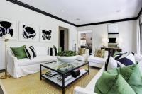 White and Black Living Room with Emerald Green Accents ...