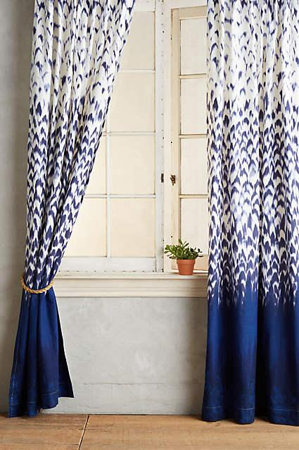 Indigo and White Paisley Curtain
