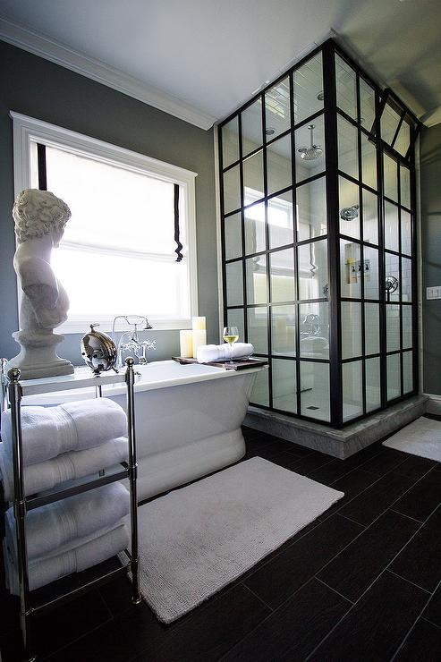 Steel Shower Enclosure with White Subway Tiles  Transitional  Bathroom