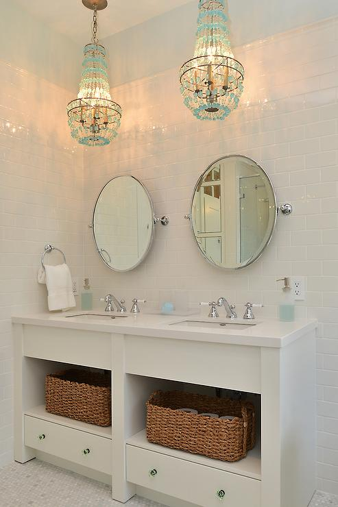 Turquoise Beaded Chandelier Over Bathroom Vanity  Cottage