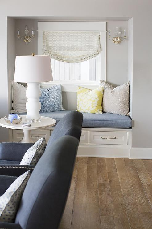 Living Room Window Seat Nook with Drawers  Transitional