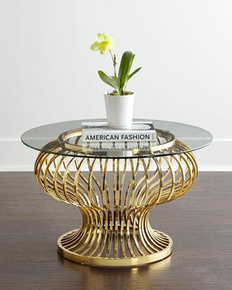 Round Two Tiered Gold Legs Glass Coffee Table