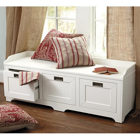 Lonny Storage Bench In White