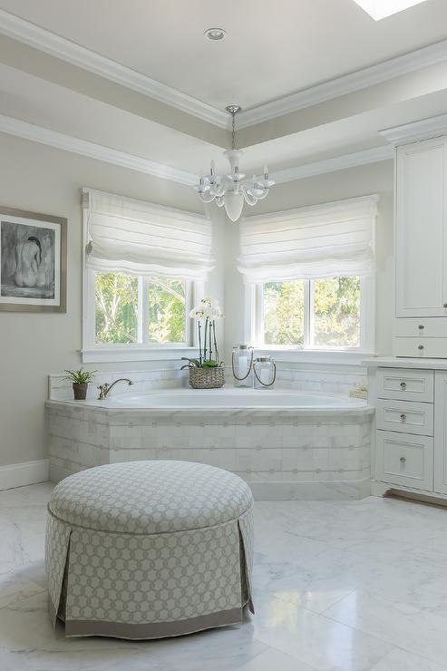 Corner Marble Tiled Tub Under Windows  Transitional