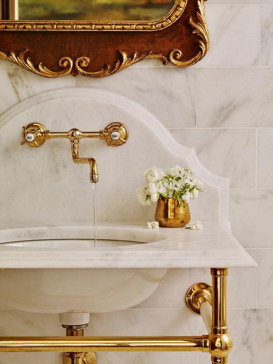 Brass Washstand with Curved Marble Backsplash  French  Bathroom