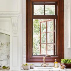 Vinyl Wallpaper Kitchen Backsplash Bosch Machine Sink With Gold Faucet Under Window - Transitional ...