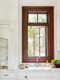 Kitchen Sink with Gold Faucet Under Window - Transitional ...