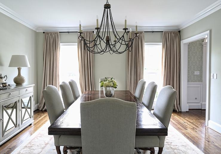 Rectangular Dining Table With Gray Linen Camelback Dining