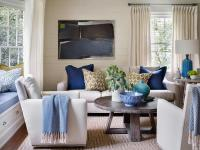 Ivory and Blue Living Rooms - Transitional - Living Room