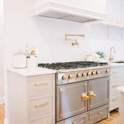 Brass Kitchen Hardware Modern Sink Faucets Grey Cabinets Design Ideas Gray With La Cornue Range