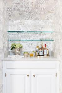 Bar Nook with Stacked Glass Shelves - Transitional ...