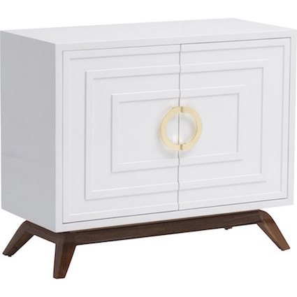 Bernard White Lacquer 2 Door Cabinet Look for Less