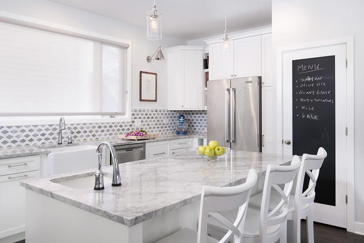 roller kitchen island floating chalkboard pantry door ideas - transitional