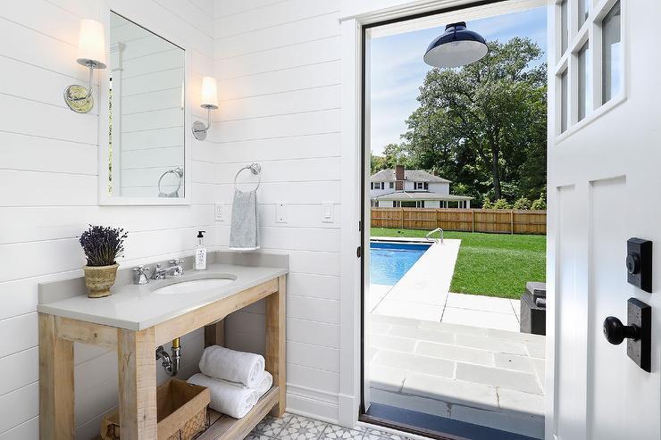 Reclaimed Wood Vanity with Gray Quartz Countertop