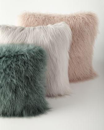 Khan FauxFur Pillows in Mauve or Teal or Grey