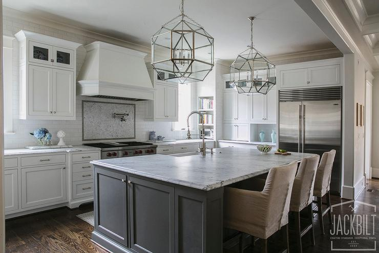 grey kitchen island pantry organizers with suzanne kasler morris lanterns transitional