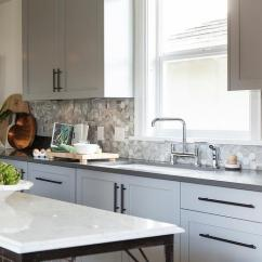Grey Kitchen Backsplash How To Set Up A Pantry Marble Herringbone Transitional Gray Cabinets With Bronze Pulls View Full Size