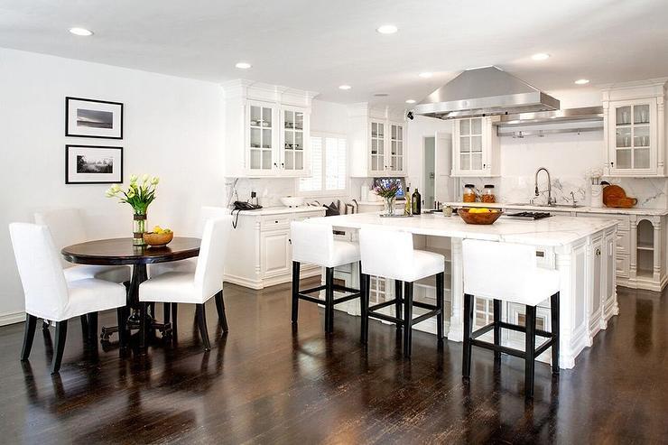 White Kitchen with dark Wood Floors  Transitional  Kitchen