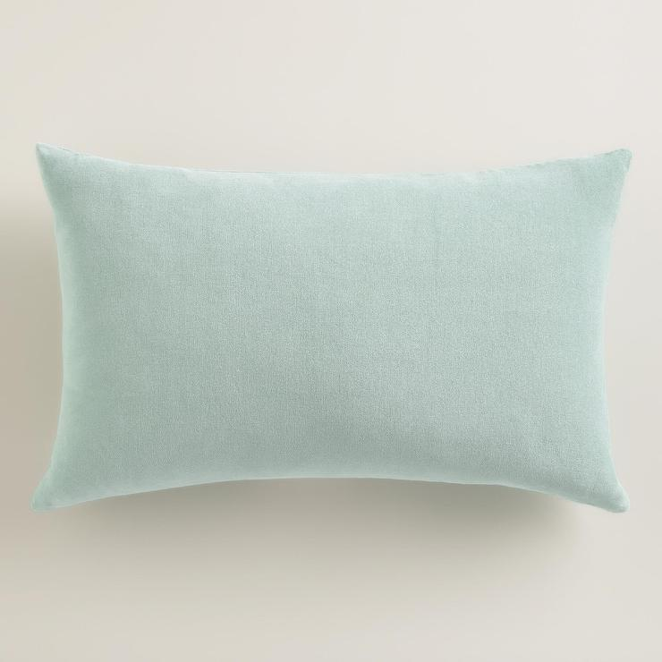 Ocean Blue Velvet Lumbar Pillow