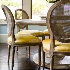 Round Dining Chairs West Elm Marble Top Table With Cane Back And Yellow Seat Cushions