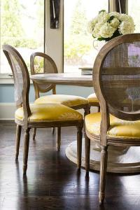 Round Marble Top Dining Table with Round Cane Back Chairs ...