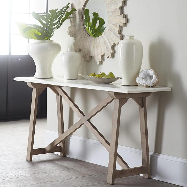 MarbleTop Console Table in White and Natural